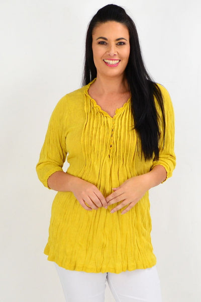Mustard Pleat Crinkle Tunic Top old | I Love Tunics | Tunic Tops | Tunic | Tunic Dresses  | womens clothing online