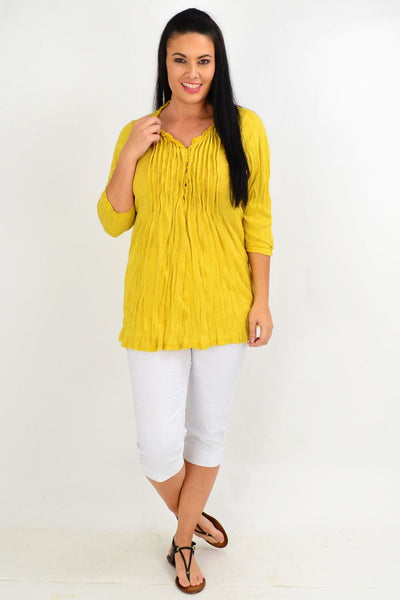 Mustard Pleat Crinkle Tunic Top