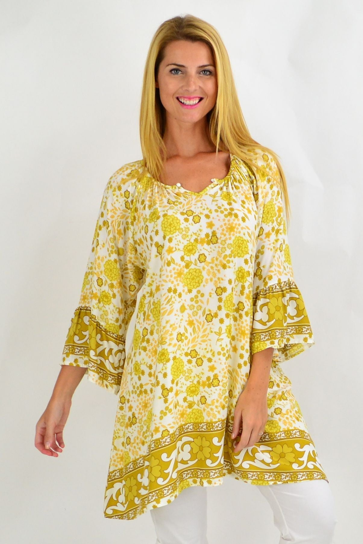 Mustard Green Floral Light & Pretty Tunic Top | I Love Tunics | Tunic Tops | Tunic | Tunic Dresses  | womens clothing online