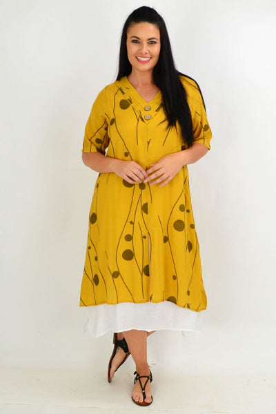 Mustard Line Dot Overlay Tunic Dress