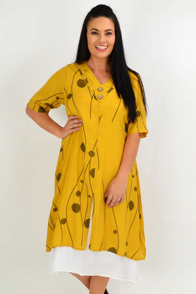 Mustard Line Dot Overlay Tunic Dress | I Love Tunics | Tunic Tops | Tunic | Tunic Dresses  | womens clothing online