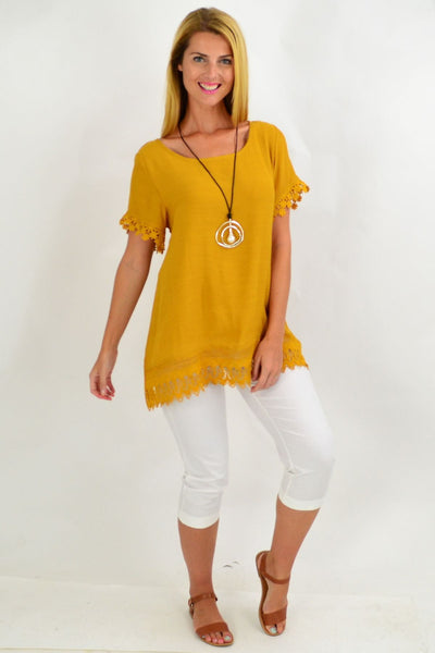 Mustard Lace Trim Tunic Top