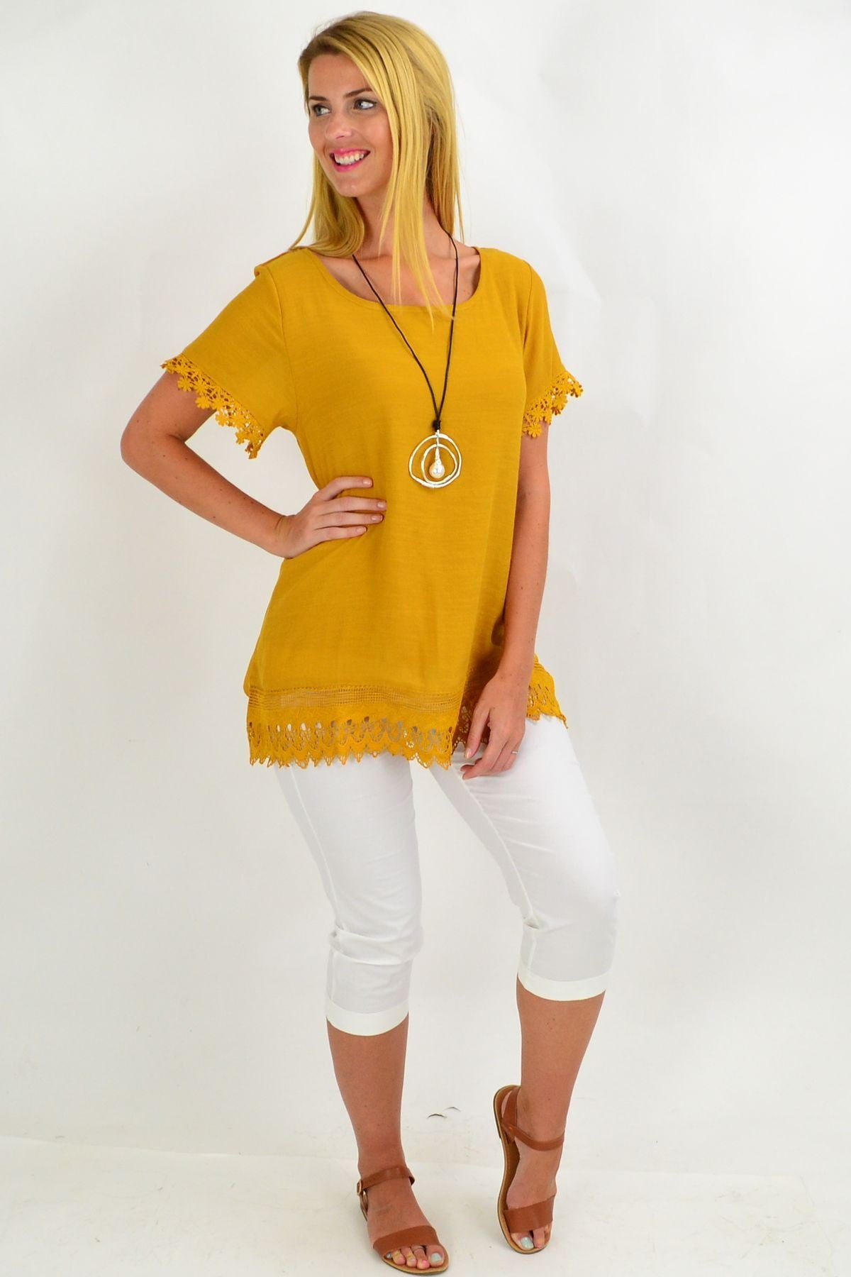 Mustard Lace Trim Tunic Top | I Love Tunics | Tunic Tops | Tunic | Tunic Dresses  | womens clothing online