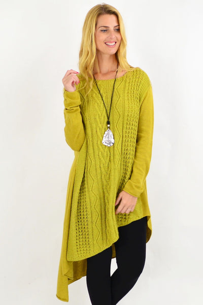 Cable Knit Green Yellow Tunic Jumper | I Love Tunics | Tunic Tops | Tunic | Tunic Dresses  | womens clothing online