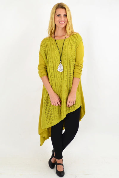 Cable Knit Green Yellow Tunic Jumper