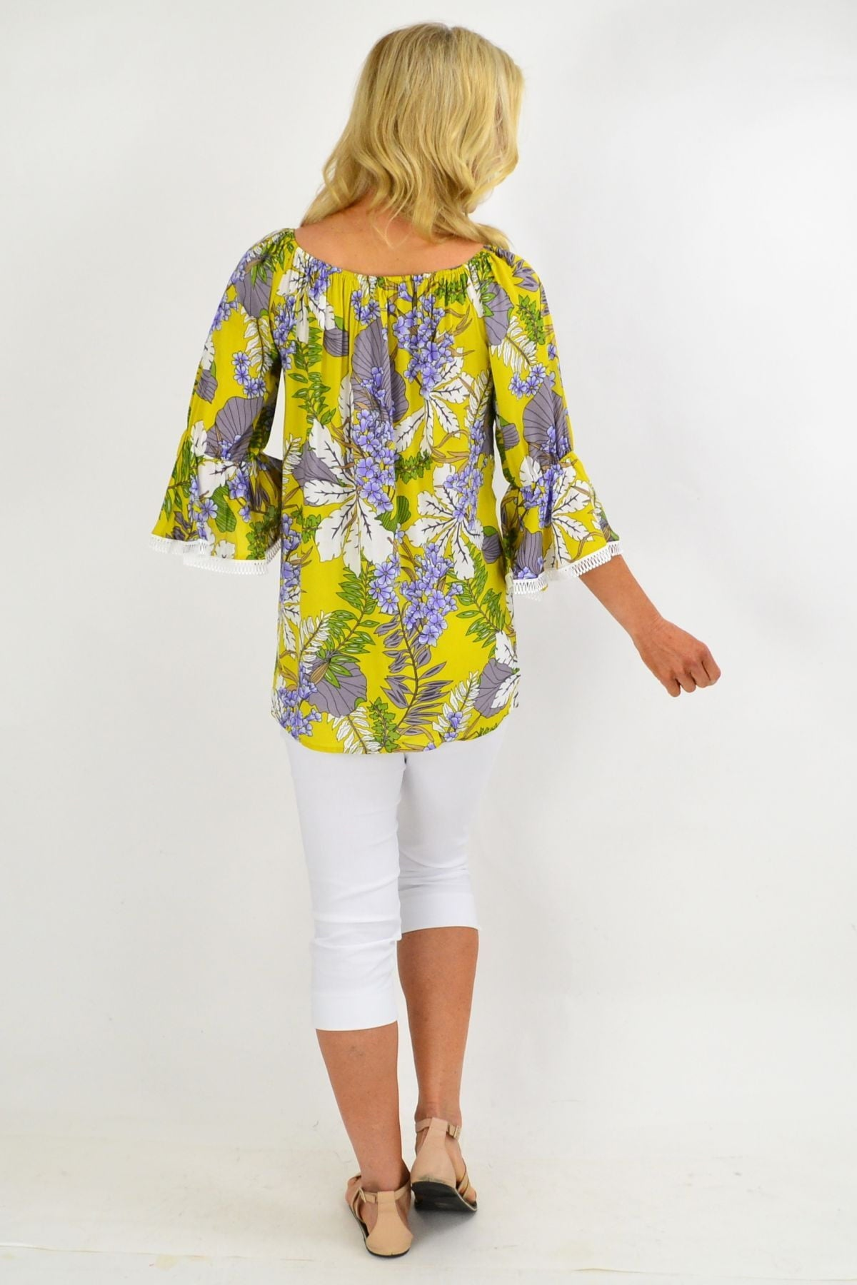 Mustard Tropical Tassel Off shoulder Tunic Top | I Love Tunics | Tunic Tops | Tunic | Tunic Dresses  | womens clothing online