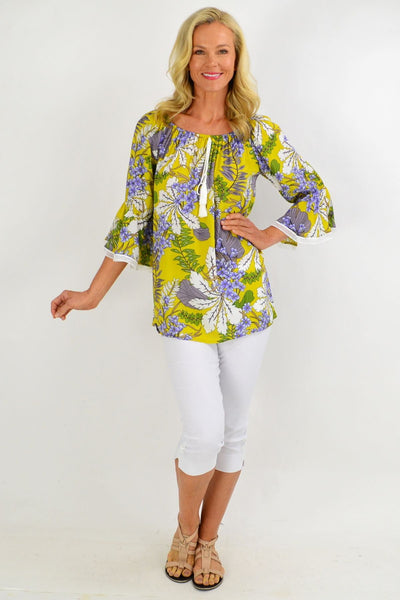 Mustard Tropical Tassel Off shoulder Tunic Top