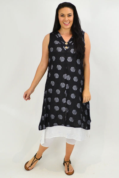 Sleeveless Black Dots Overlay Tunic Dress