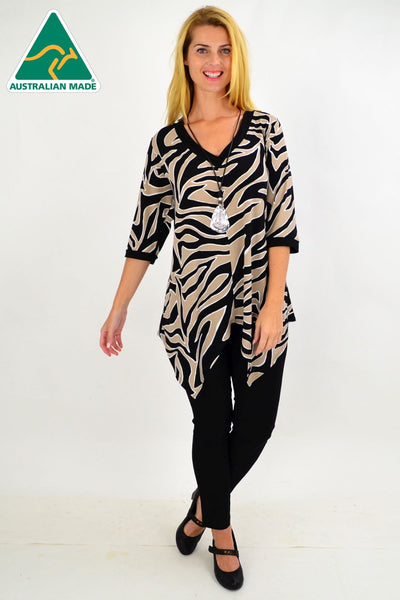 Zebra Pointed Hem Tunic Top