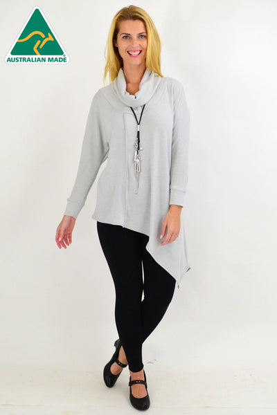 Light Grey Asymmetrical Rolled Neck Jumper