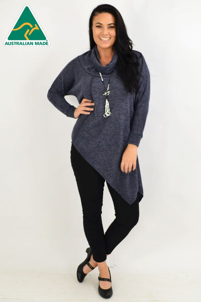Charcoal Grey Asymmetrical Rolled Neck Jumper