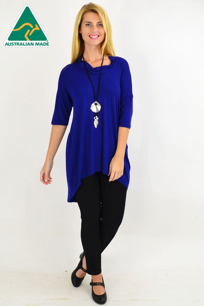 Royal Blue Bamboo Hi Low Tunic Top