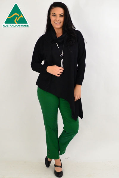 Black Asymmetrical Rolled Neck Jumper