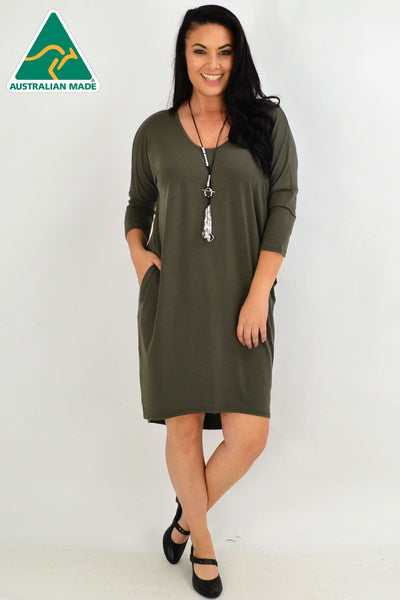 Khaki Hi Low Tunic Dress