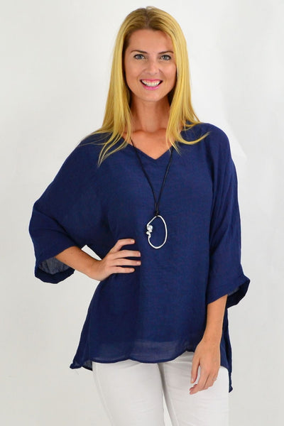 Navy Slop Sleeve Tunic Top