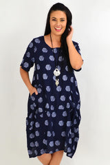 Navy White Dots Bubble Tunic Dress