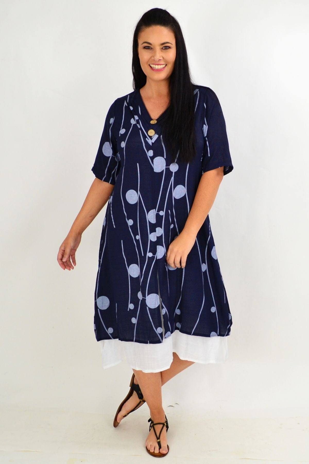 Navy Line Dot Overlay Tunic Dress | I Love Tunics | Tunic Tops | Tunic | Tunic Dresses  | womens clothing online