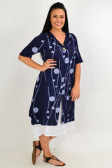 Navy Line Dot Overlay Tunic Dress