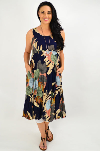 Sleeveless Navy Linda Leaf Tunic Dress