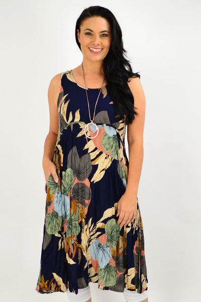 Sleeveless Navy Linda Leaf Tunic Dress | I Love Tunics | Tunic Tops | Tunic | Tunic Dresses  | womens clothing online