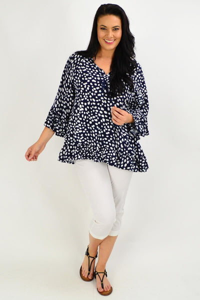 Navy White Spot Swing Tunic Top | I Love Tunics | Tunic Tops | Tunic | Tunic Dresses  | womens clothing online