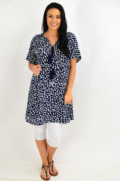 Navy Spot Tie Up Neck Tunic Dress