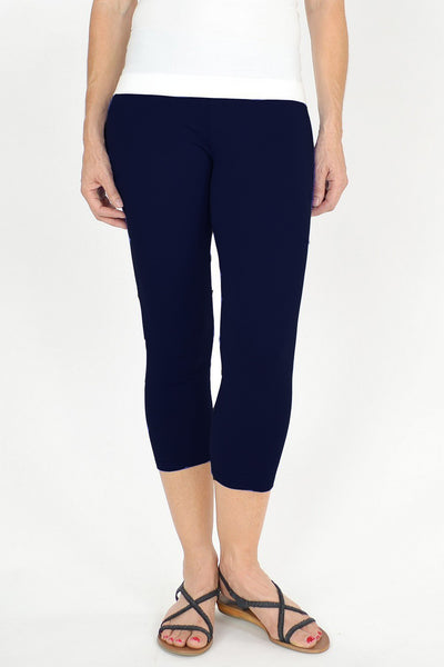 Navy Blue Cotton 3/4 Leggings - at I Love Tunics @ www.ilovetunics.com = Number One! Tunics Destination