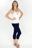 Navy Blue Cotton 3/4 Leggings | I Love Tunics | Tunic Tops | Tunic | Tunic Dresses  | womens clothing online