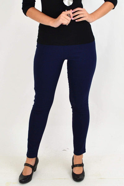 Classic Navy Pencil Leg Pull on Pants