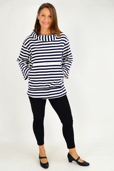 White Nora Stripe Turtle Neck Tunic Jumper