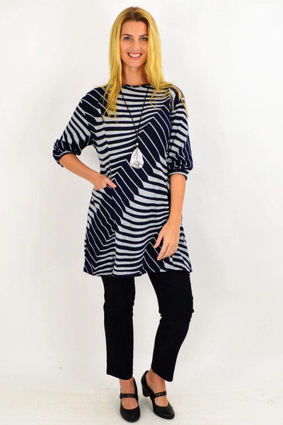 Navy Lucille Line Winter Tunic Top