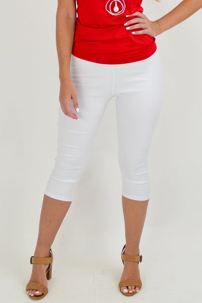 White Crop Cotton Pants