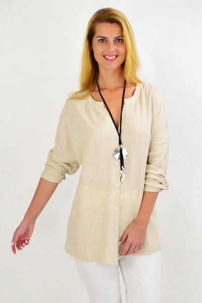 Oatmeal V Neck Linen Shirt | I Love Tunics | Tunic Tops | Tunic | Tunic Dresses  | womens clothing online