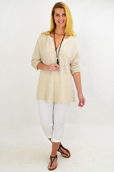 Oatmeal V Neck Linen Shirt