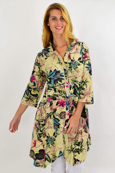 Floral Stand Collar Long Shirt | I Love Tunics | Tunic Tops | Tunic | Tunic Dresses  | womens clothing online