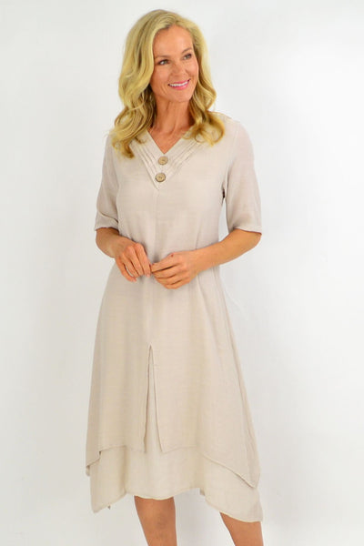 Oatmeal Overlay Tunic Dress