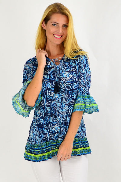 Navy Waive Print Tunic Top | I Love Tunics | Tunic Tops | Tunic | Tunic Dresses  | womens clothing online