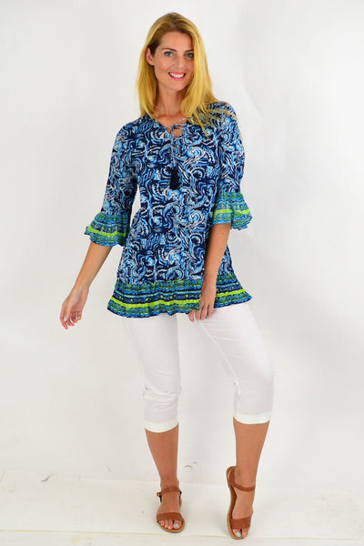 Navy Waive Print Tunic Top