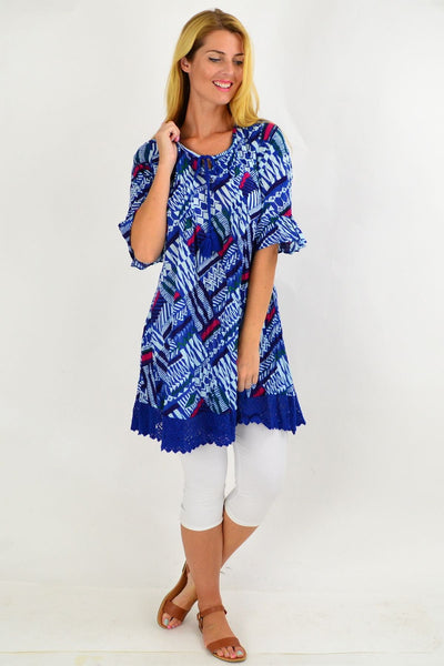 Blue Line Pattern Lace Trim Tunic Top