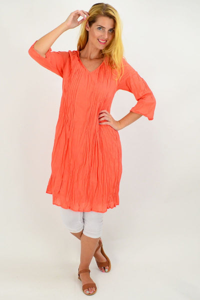 Orange Alice Crinkle Cotton Tunic Dress