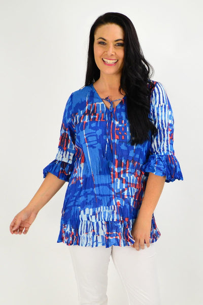Blue Red Abstract Print Tunic Top | I Love Tunics | Tunic Tops | Tunic | Tunic Dresses  | womens clothing online