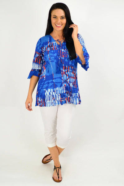 Blue Red Abstract Print Tunic Top