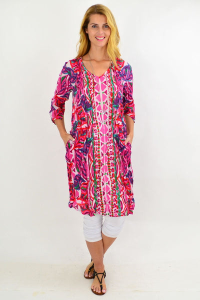 Pink Pattern One Summer Tunic Dress