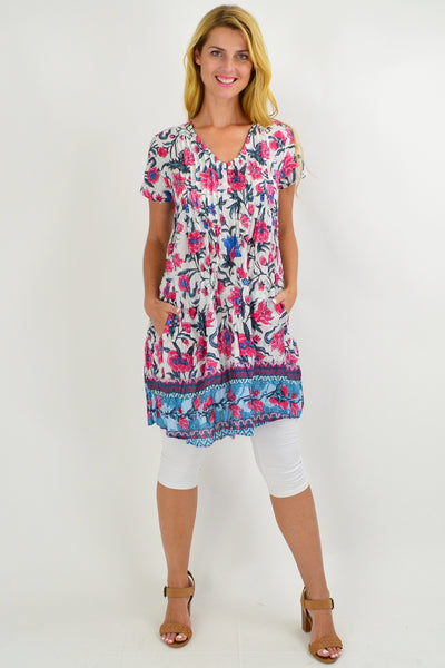 Floral Delight Cap Sleeve Tunic Top