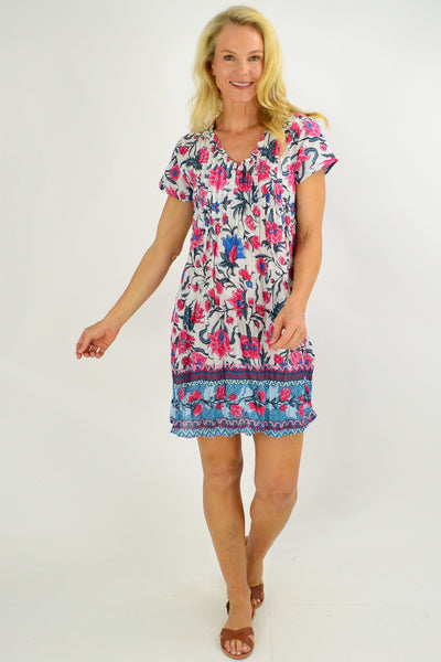 Floral Delight Cap Sleeve Tunic Top - I Love Tunics