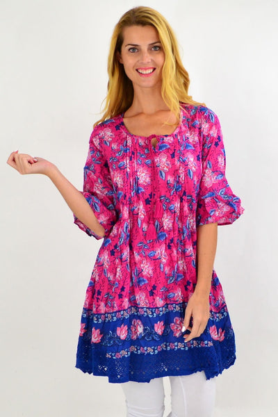 Fuchsia Pink Floral Lace Trim Tunic Top | I Love Tunics | Tunic Tops | Tunic | Tunic Dresses  | womens clothing online