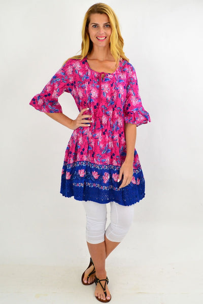 Fuchsia Pink Floral Lace Trim Tunic Top