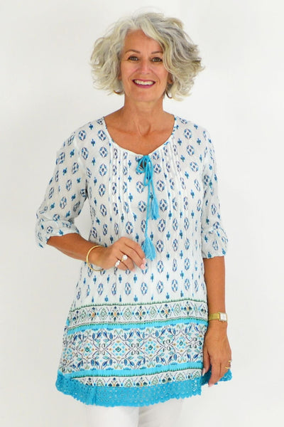Aqua White Floral Lace Tunic Top | I Love Tunics | Tunic Tops | Tunic | Tunic Dresses  | womens clothing online