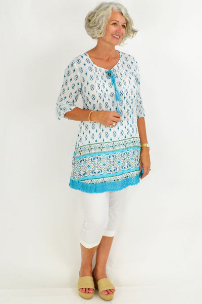 Aqua White Floral Lace Tunic Top