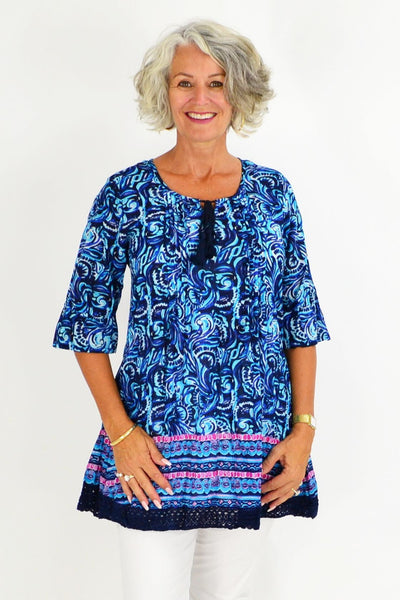 Blue Swirls Cotton Tunic Top | I Love Tunics | Tunic Tops | Tunic | Tunic Dresses  | womens clothing online